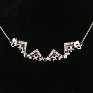 Dark Red Two-Way Magnetic Jerusalem Cross Necklace (White Gemstones) - Jewelry - Bethlehem Handicrafts