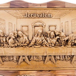 Olive Wood Last Supper Wall Hanging Plaque with Holy Land Incense - Wall Hangings - Bethlehem Handicrafts
