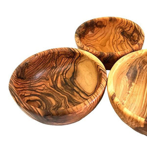 Round Olive Wood Bowls (Large Set of 3)