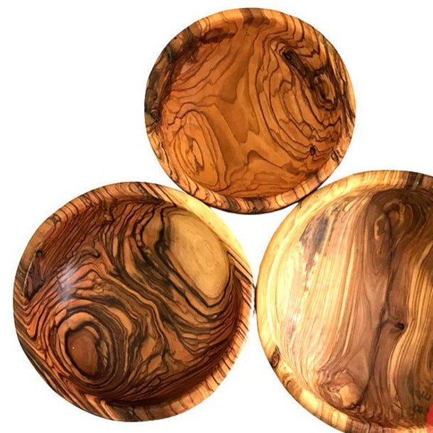 Round Olive Wood Bowls (Large Set of 3) - Home & Office - Bethlehem Handicrafts