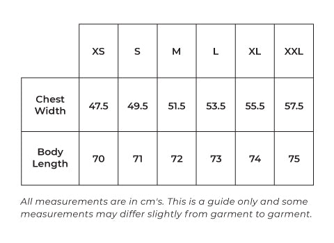mens tanks size guide in cms