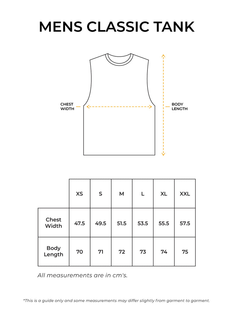 Mens Classic Tank Size Guide
