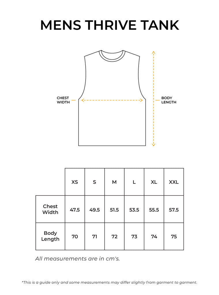 Mens Thrive Tank Size Guide