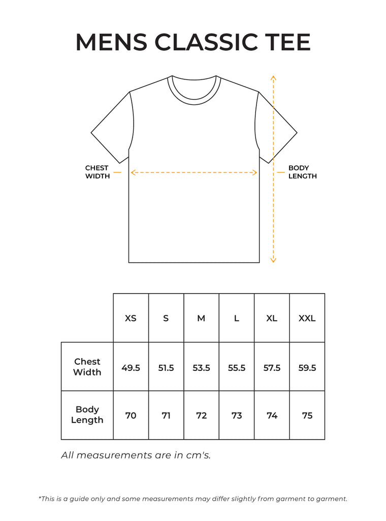 Mens Classic Tee Size Guide
