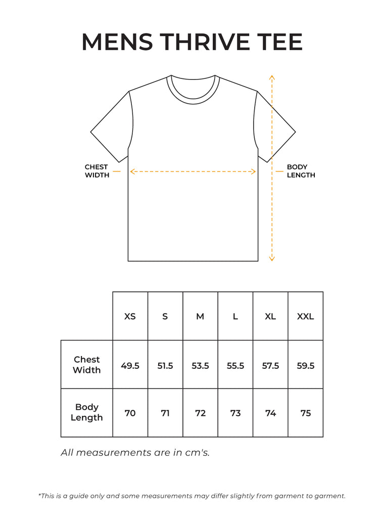 Mens Thrive Tee Size Guide