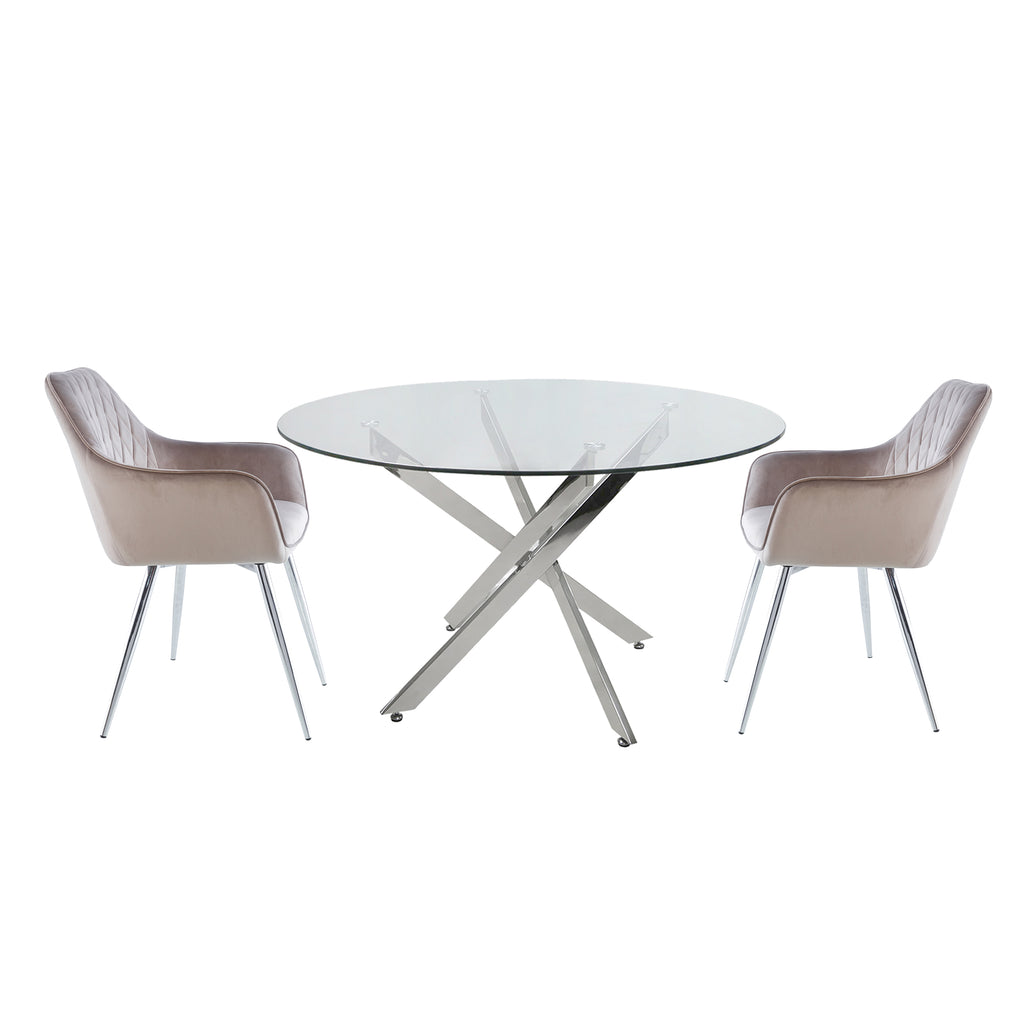 Davos Chrome - Round Dining Table + 2pcs Leon Grey - Dining Chairs - VANITY LIVING