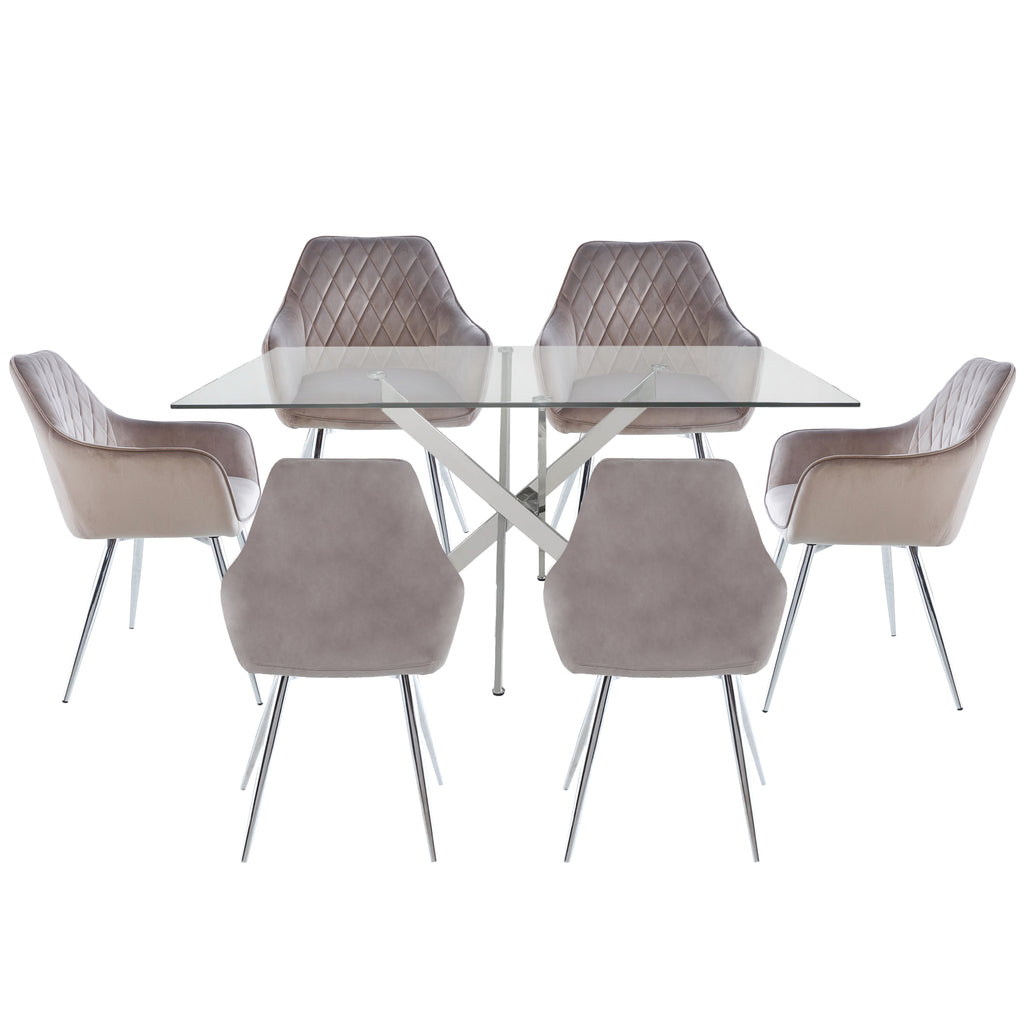 Davos Chrome - Large Dining Table + 6pcs Leon Grey - Dining Chairs - VANITY LIVING