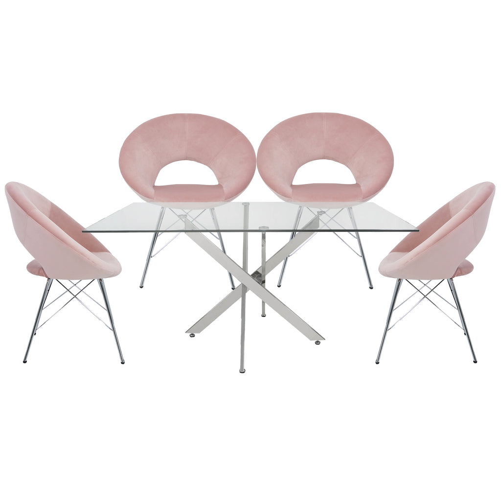 Davos Chrome - Large Glass Dining Table + 4pcs Seville Pink - Orb Chair - VANITY LIVING
