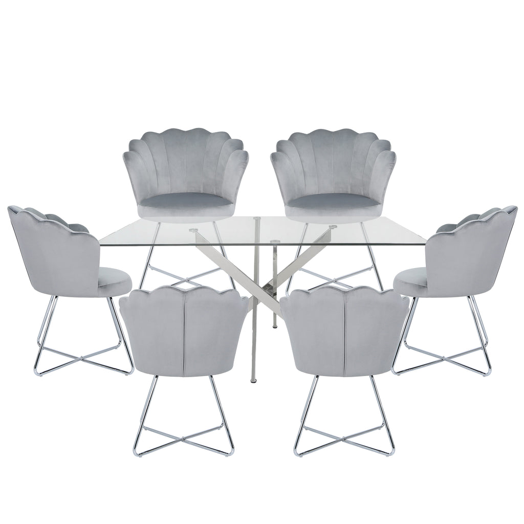 Davos Chrome - Large Glass Dining Table + 6pcs Venice Grey - Shell Chair - VANITY LIVING