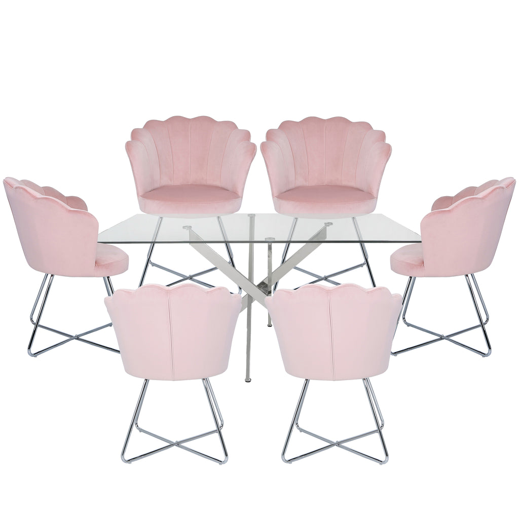 Davos Chrome - Large Glass Dining Table + 6 Venice Shell Pink - Dining Chairs - VANITY LIVING