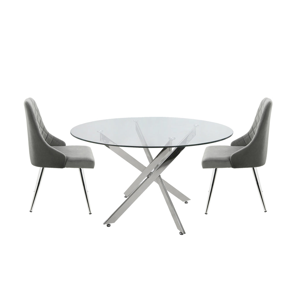 Davos Chrome - Round Glass Dining Table + 2pcs Milan Grey - Chair - VANITY LIVING