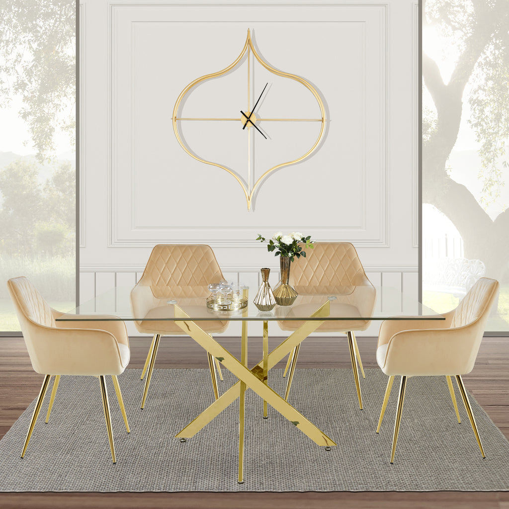 Davos Gold - Large Dining Table + 4pcs Leon Cream - Dining Chair - VANITY LIVING