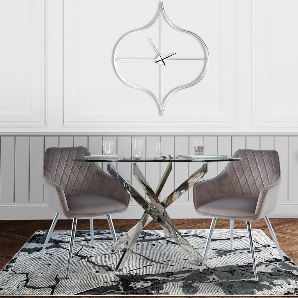 Davos Chrome - Round Dining Table + 2pcs Leon Grey - Dining Chair - VANITY LIVING