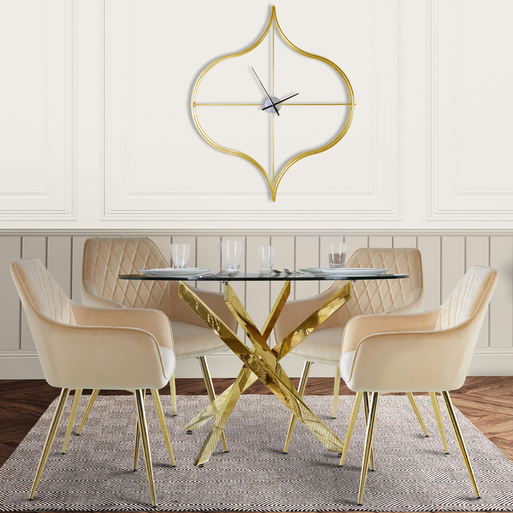 Davos Gold - Round Dining Table + 4pcs Leon Cream - Dining Chair - VANITY LIVING