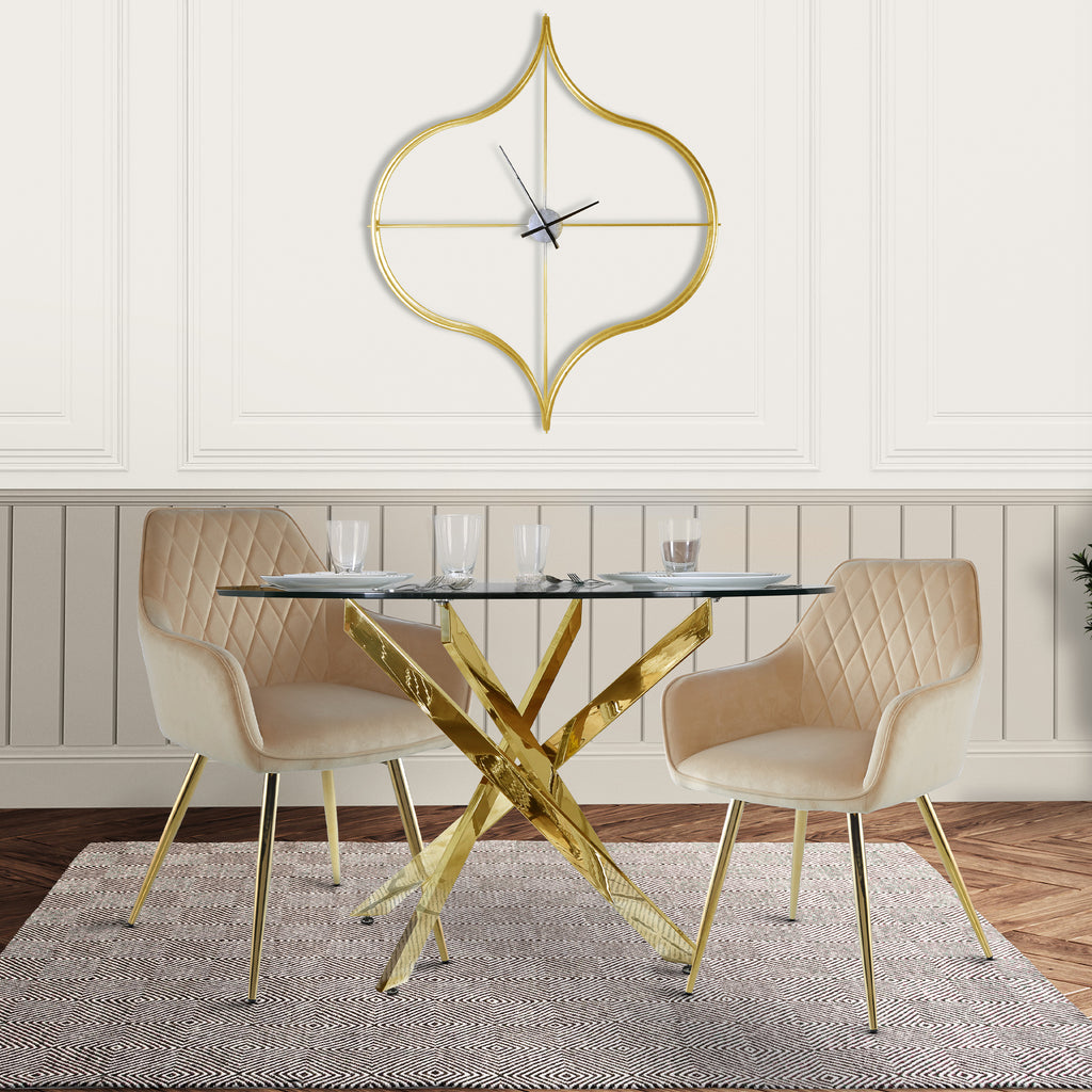 Davos Gold - Round Dining Table + 2pcs Leon Cream - Dining Chair - VANITY LIVING