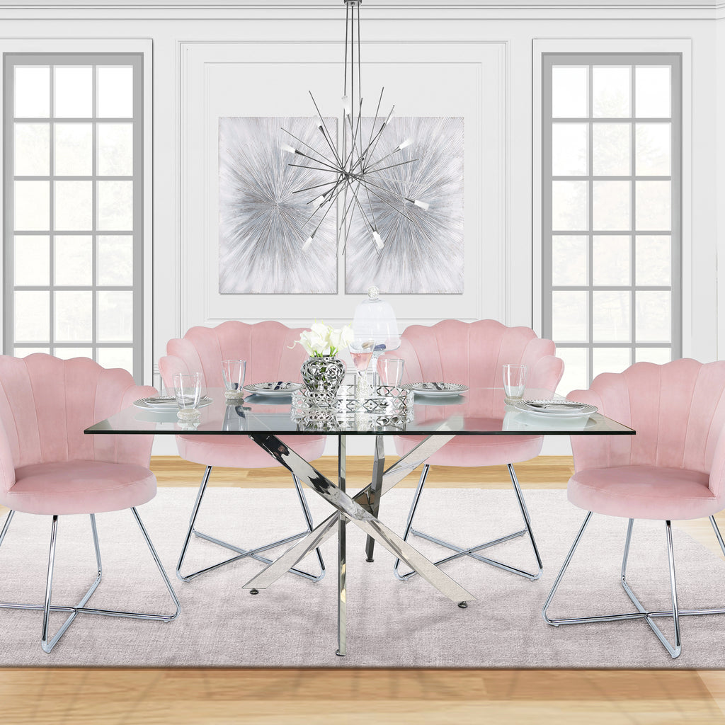 Davos Chrome - Large Glass Dining Table + 4pcs Venice Pink - Shell Chair - VANITY LIVING