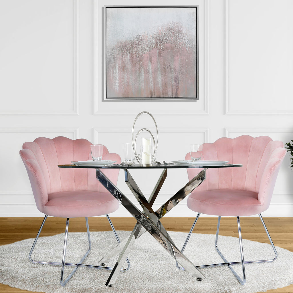 Davos Chrome - Round Glass Dining Table + 2pcs Venice Pink - Shell Chair - VANITY LIVING