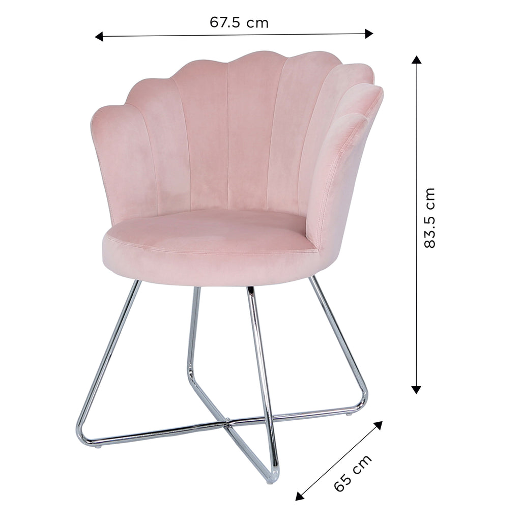 Bundle of 4pcs Venice Pink - Shell Chair - VANITY LIVING