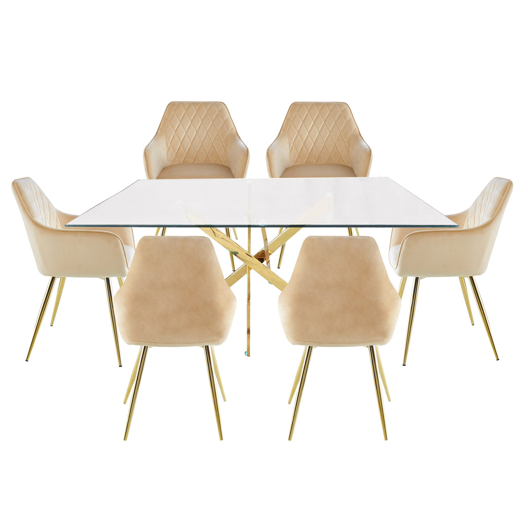 Davos Gold - Large Dining Table + 6pcs Leon Grey - Dining Chairs - VANITY LIVING