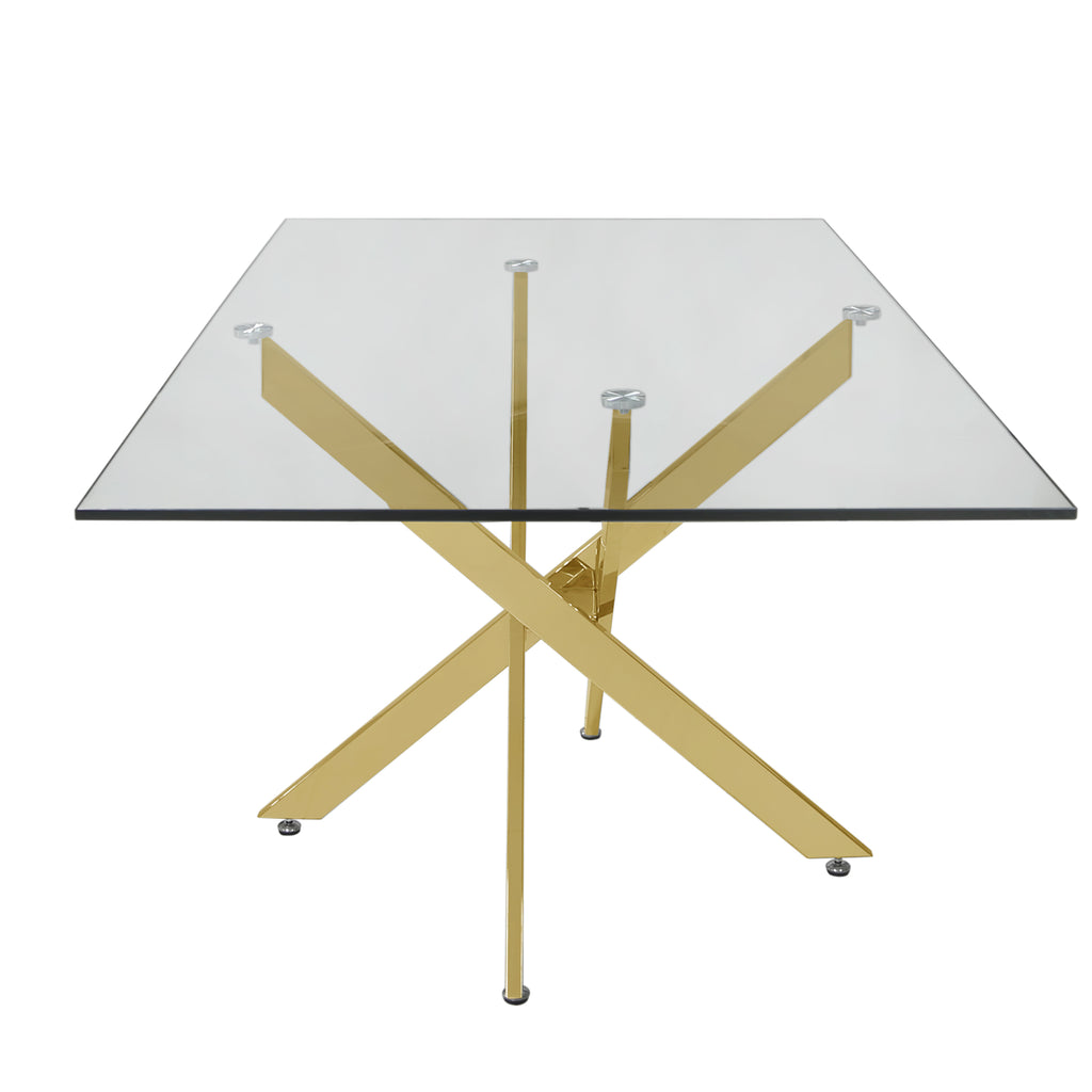 Davos Gold - Large Dining Table + 4pcs Leon Cream - Dining Chairs - VANITY LIVING