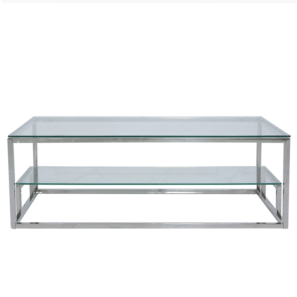 Valencia 2-Tier Chrome - 2 Side Tables +Coffee Table - VANITY LIVING