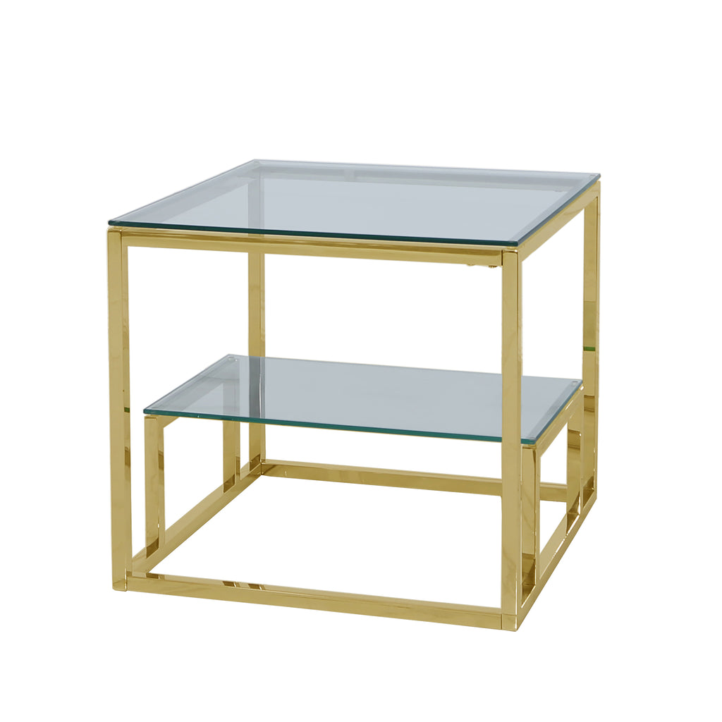 Valencia 2-Tier Gold - Side Table - VANITY LIVING