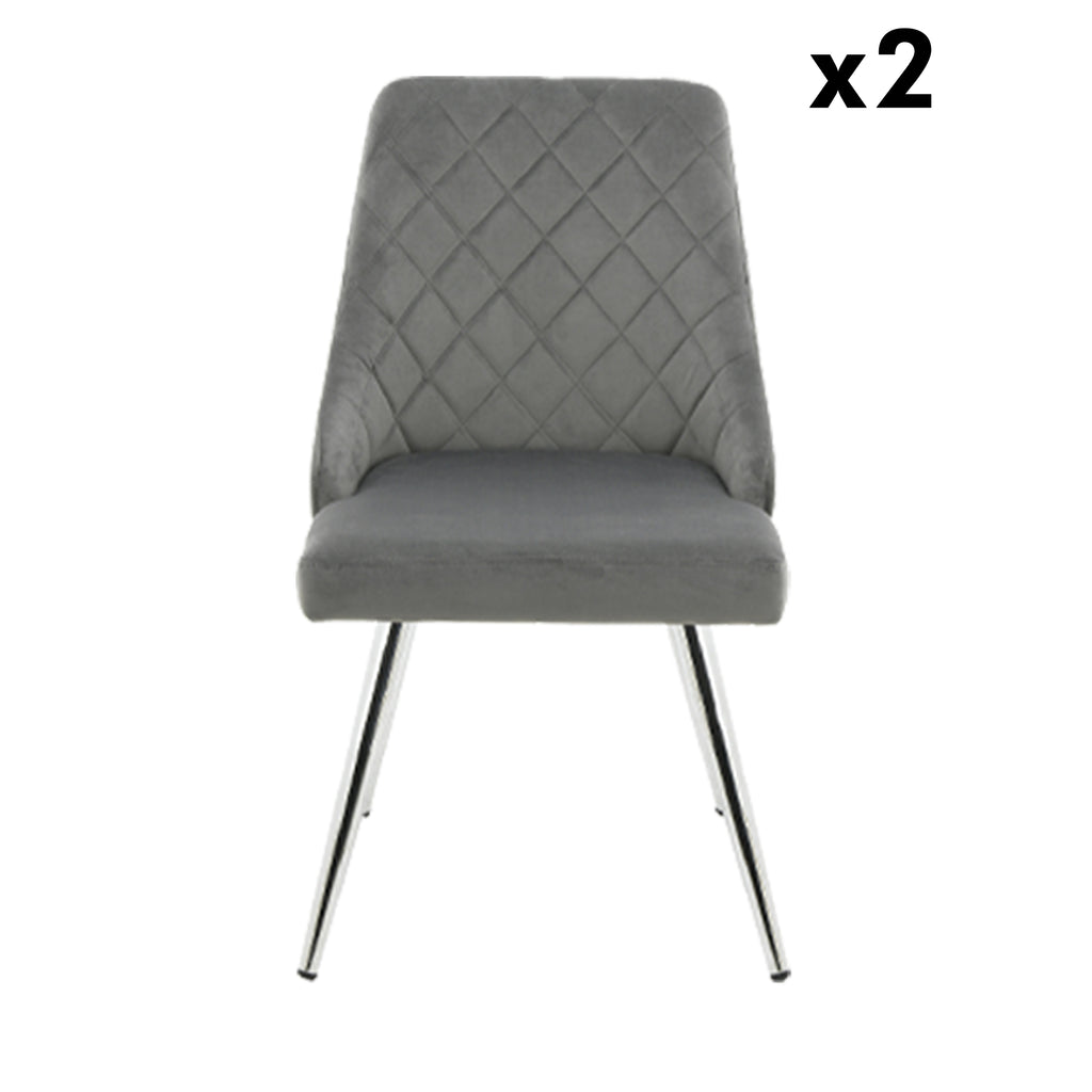 Bundle of 2pcs Milan Grey - Dining Chair - VANITY LIVING