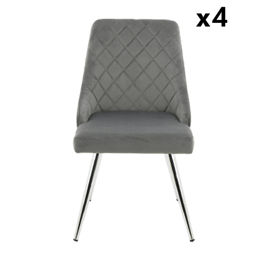 Bundle of 4pcs Milan Grey - Dining Chair - VANITY LIVING