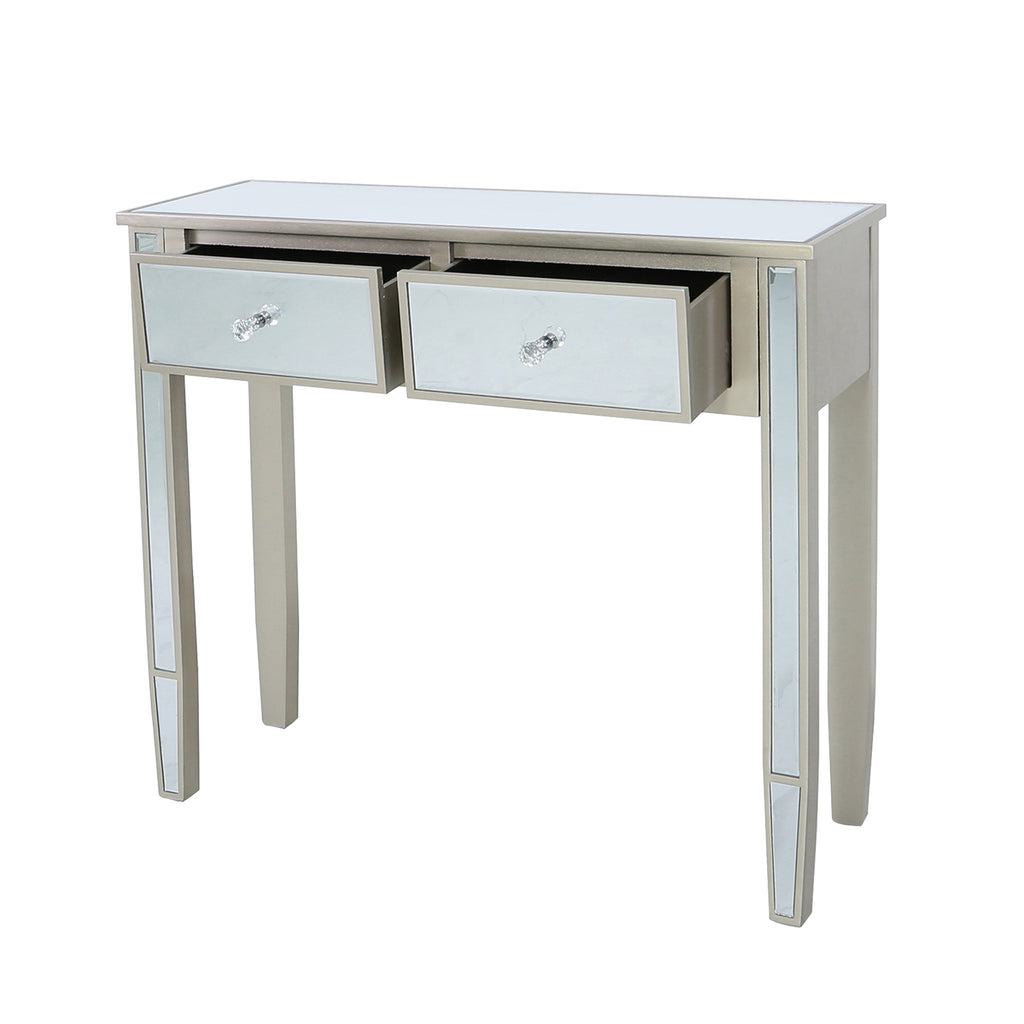 Treviso Gold - 2 Mirrored Drawer Console Table - VANITY LIVING