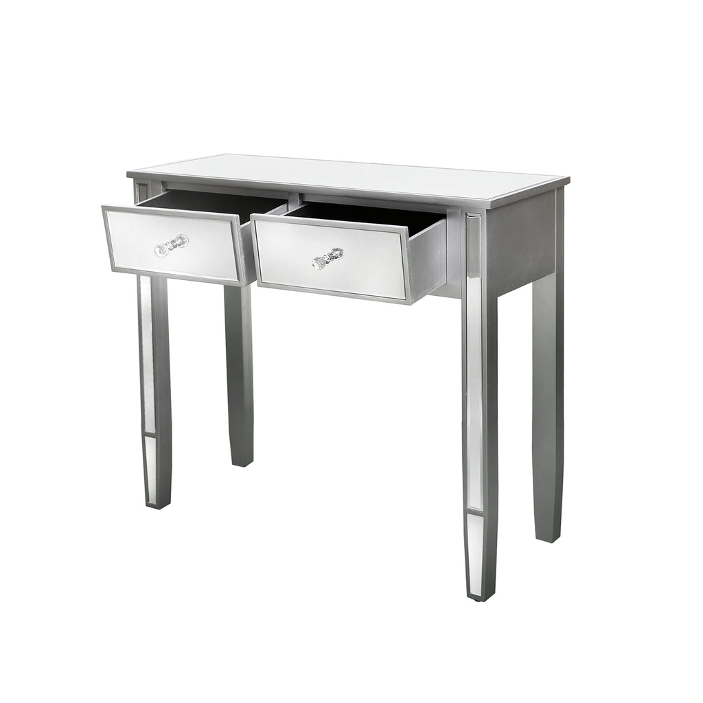 Treviso Silver - 2 Mirrored Drawer Console Table - VANITY LIVING
