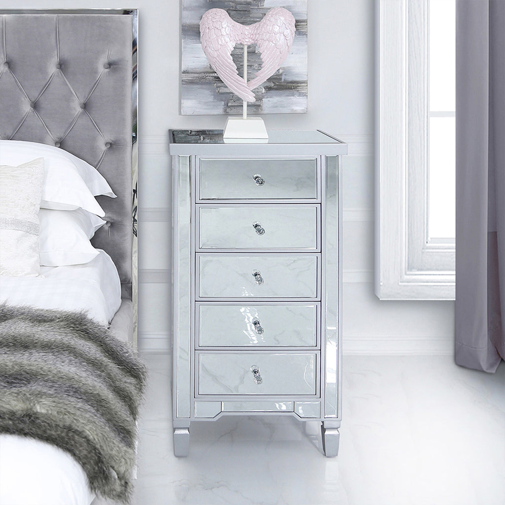 Treviso Silver - Mirrored Chest of 5 Drawers - VANITY LIVING