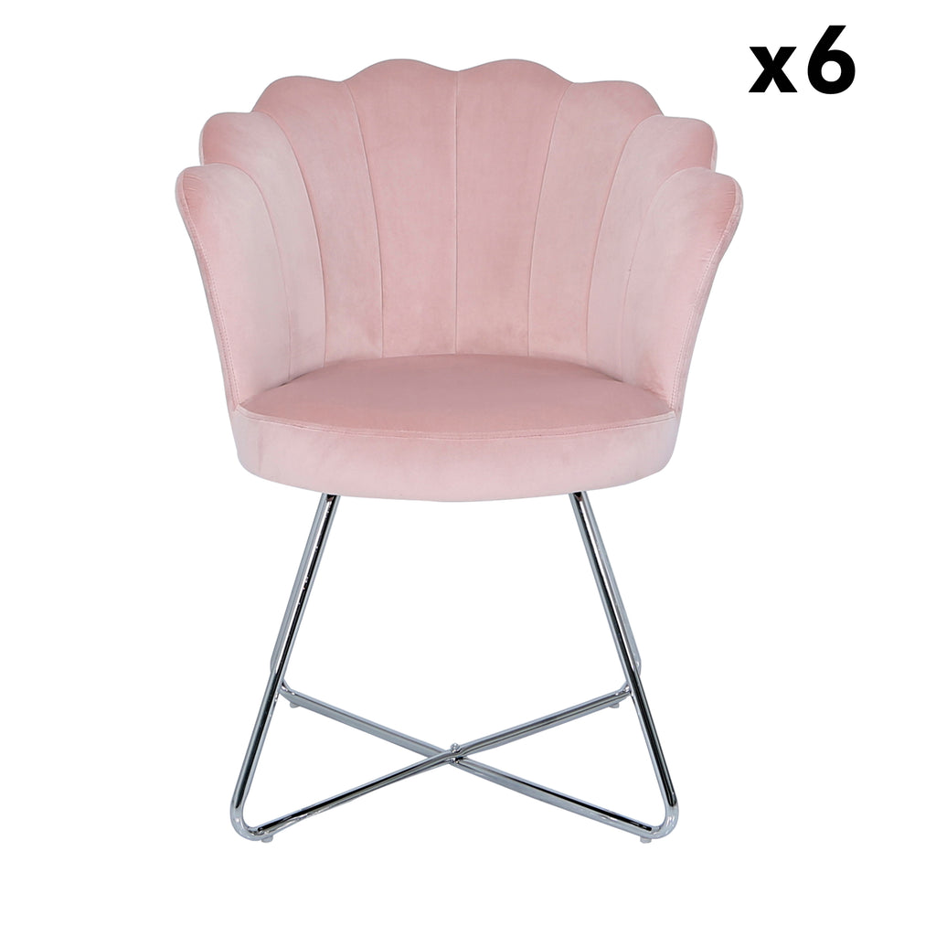 Bundle of 6pcs Venice Pink - Shell Chair - VANITY LIVING