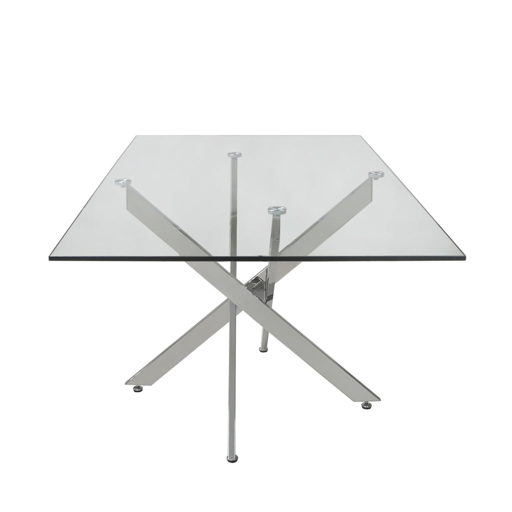 Davos Chrome - Large Glass Dining Table + 6pcs Milan Grey - Chair - VANITY LIVING