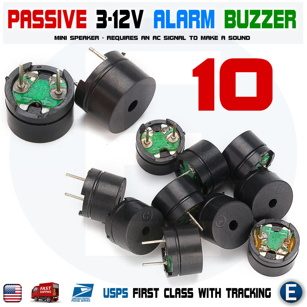 10 x Passive Buzzer Acoustic Component Mini Alarm Speaker For Arduino 3V 5V 12V USA - eElectronicParts