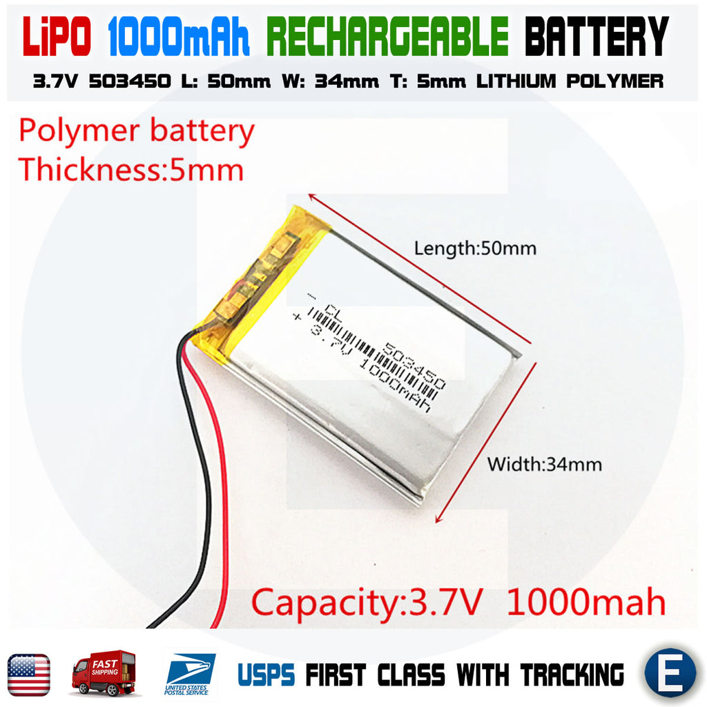 1000mAh 3.7V lipo rechargeable Battery 503450 polymer lithium Li-Po USA - eElectronicParts