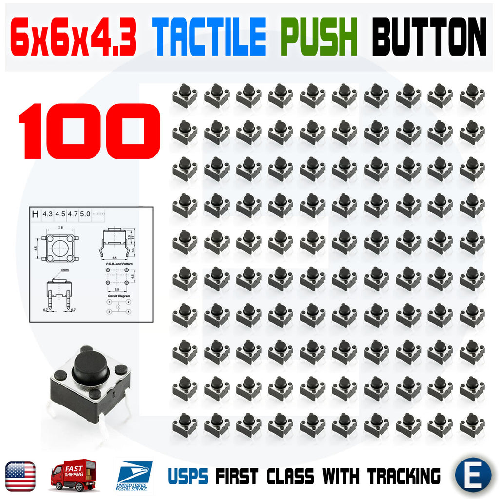 100Pcs 6x6x4.3mm PCB Momentary Tactile Tact Push Button Switch 4 Pin DIP Micro Mini