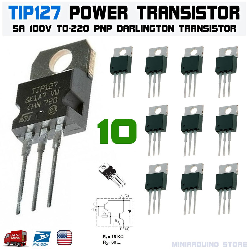10pcs TIP127 Power Transistor 5A 100V PNP Darlington TO-220 ST - eElectronicParts