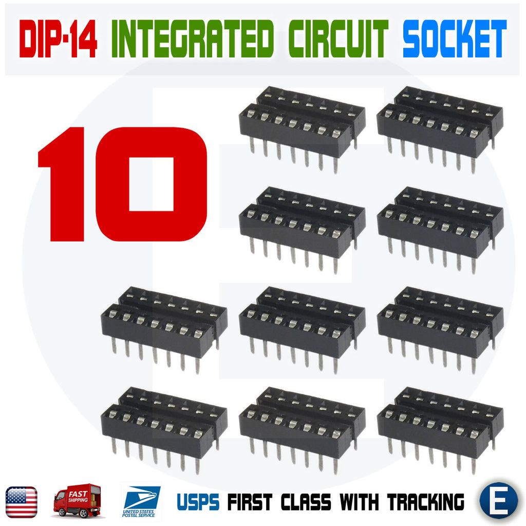 10PCS 14 Pin DIP14 Sockets Adaptor Solder Type IC Connector - eElectronicParts