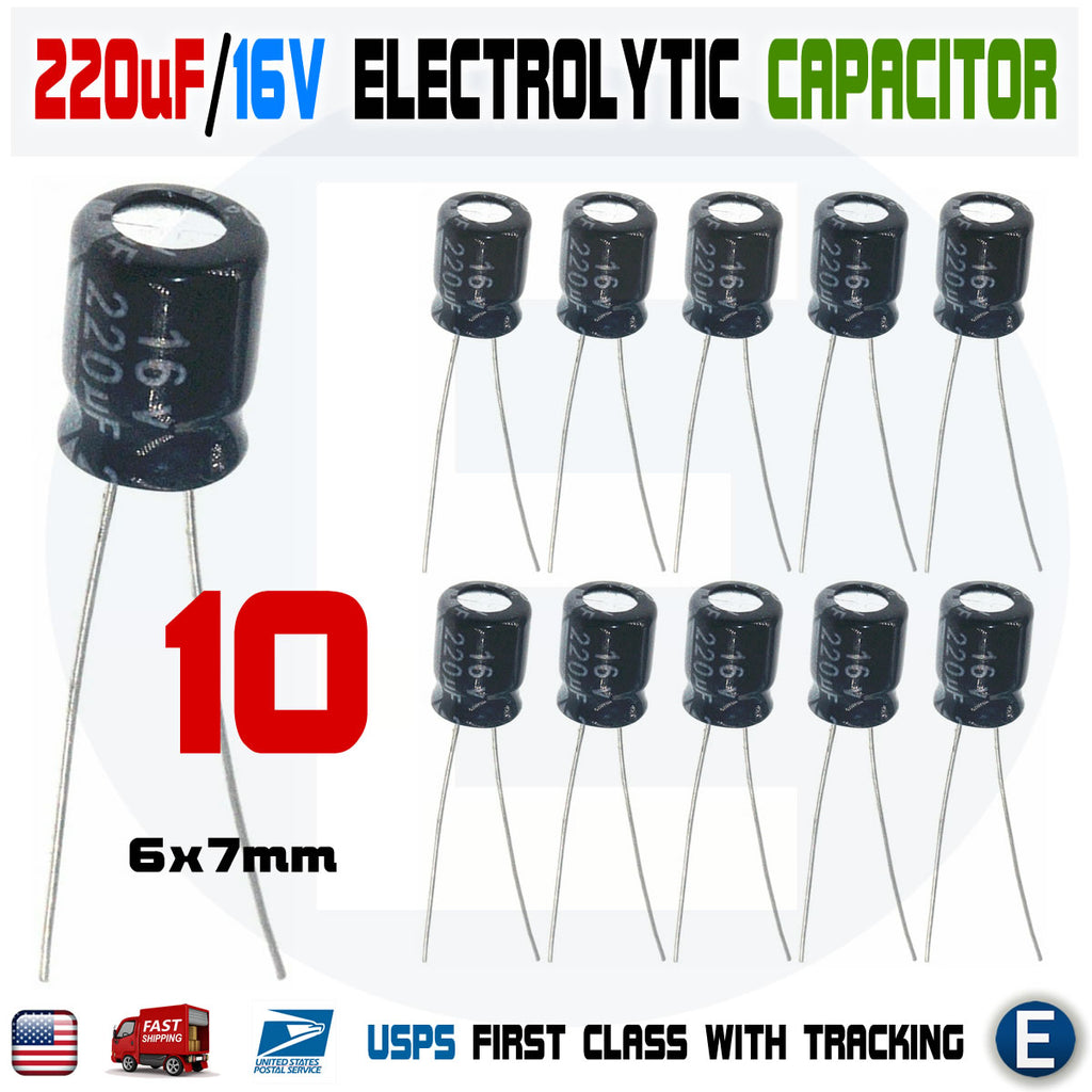 10PCS 220uF 16V 105C Capacitor Electrolytic 6x7mm for 16V 10V 6.3V Aluminum - eElectronicParts