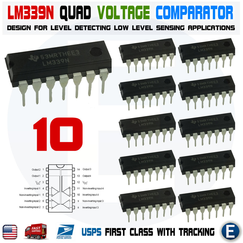 10pcs IC LM339 LM339N DIP-14 LOW POWER Quad Voltage Comparator - eElectronicParts