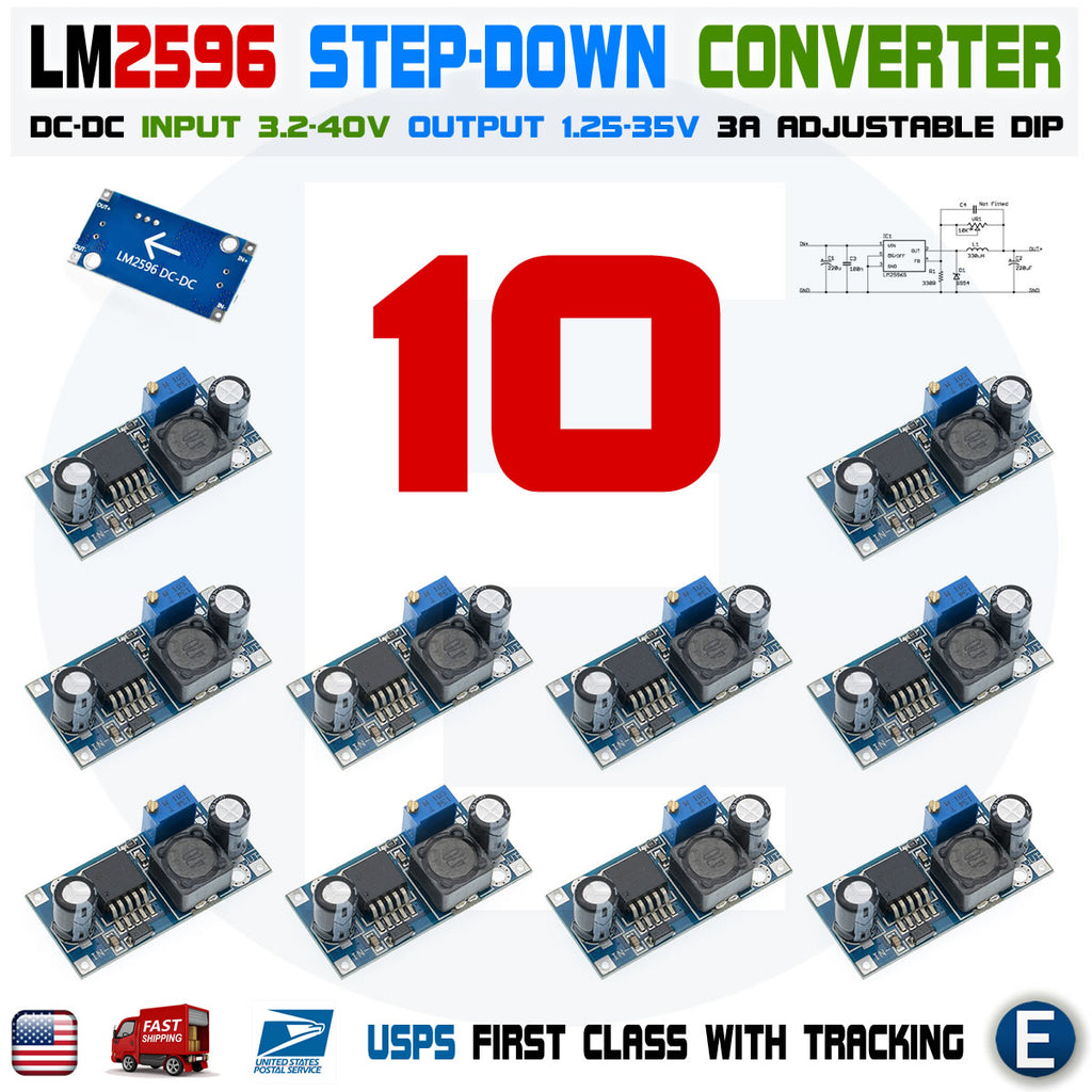 10pcs LM2596S DC-DC 3A Buck Converter Adjustable Step-Down Power Supply LM2596 DIP
