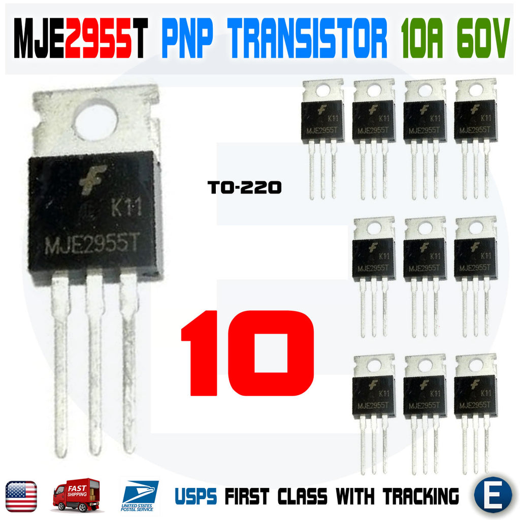 10pcs MJE2955T MJE2955 PNP Transistor 10A 60V TO-220 General Purpose Amplifier