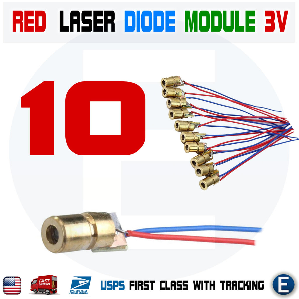 10pcs Red Dot Laser Diode Module 3V Volt 5mW 650nm Copper Head 150mW - eElectronicParts