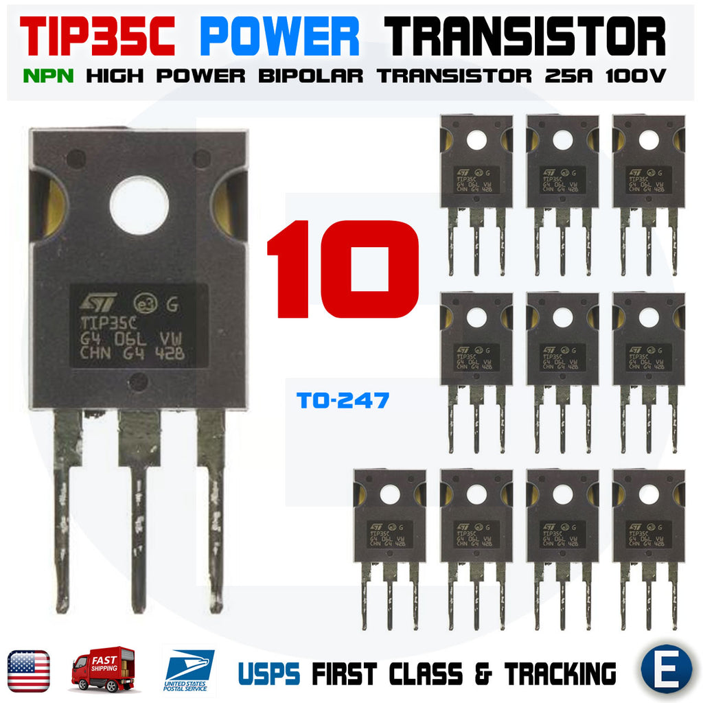 10pcs TIP35C TIP35 NPN High Power Transistor 25A 100V bipolar TO-247 - eElectronicParts