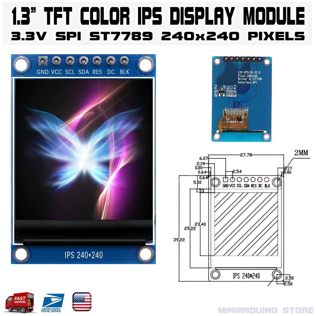 "1.3"" TFT Color IPS Display Module SPI ST7789 240x240 Arduino LCD - eElectronicParts"
