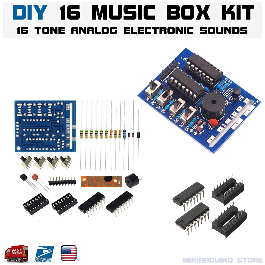 DIY 16 Music Box 16 Sound Box 16-Tone Box BOX-16 Electronic Module Kits - eElectronicParts