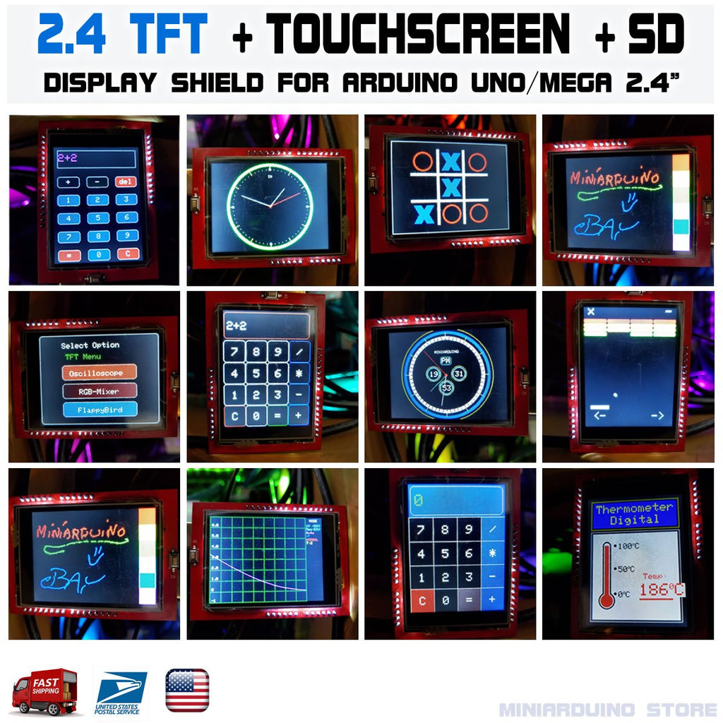 "2.4"" TFT LCD Display Shield Touch Panel Screen Arduino UNO R3 ATmega328p CH340g - eElectronicParts"