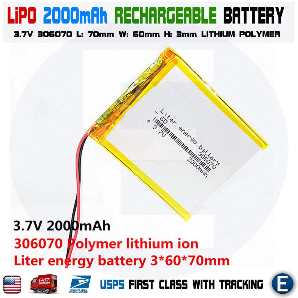 2000mAh 3.7V lipo rechargeable Battery 306070 polymer lithium Li-Po USA - eElectronicParts