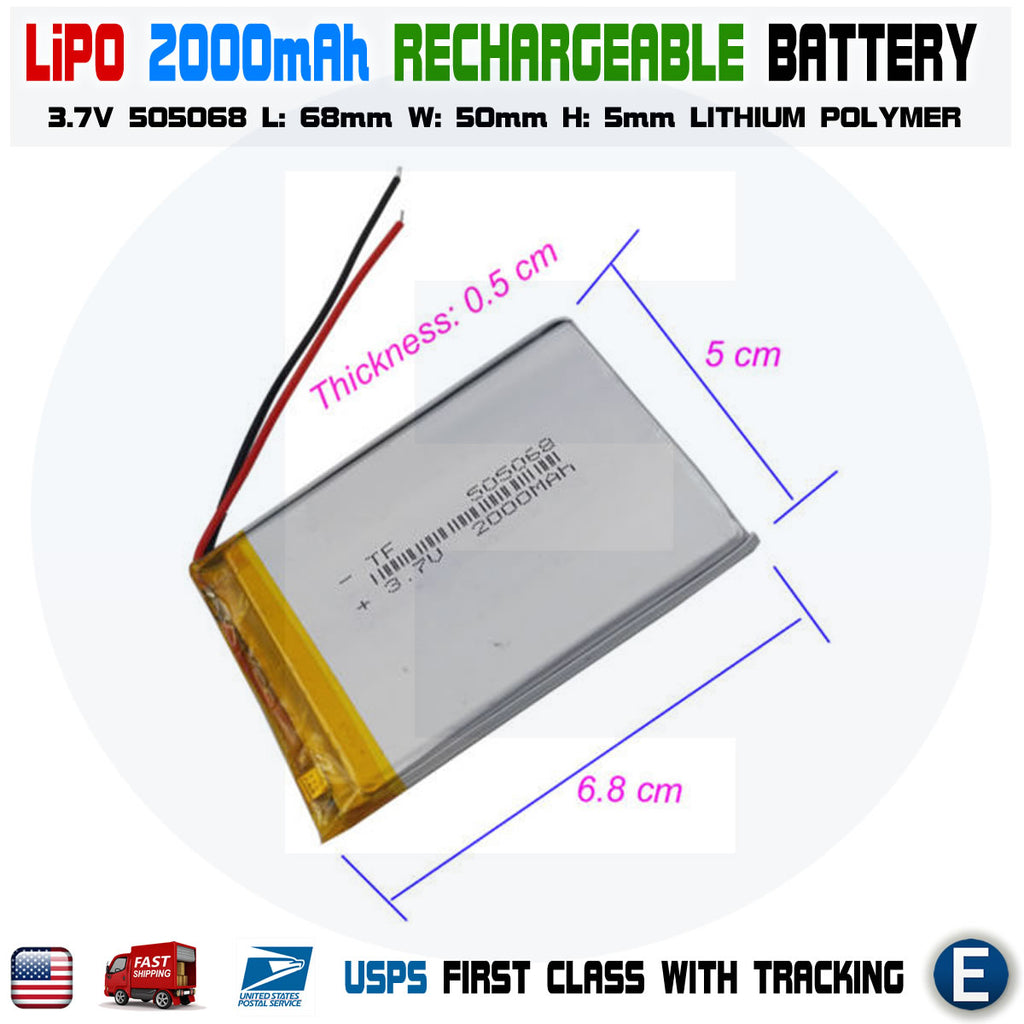 2000mAh 3.7V lipo rechargeable Battery 505068 polymer lithium Li-Po USA - eElectronicParts