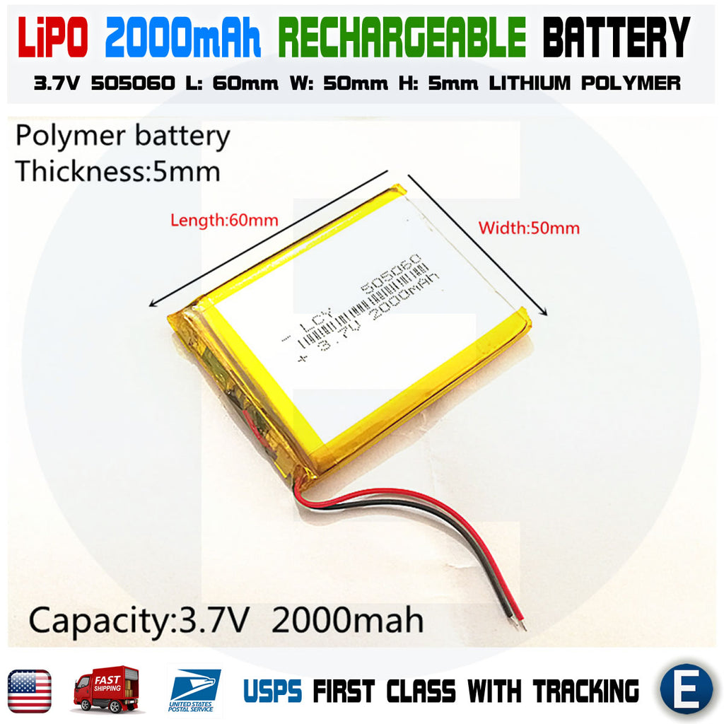 2000mAh 3.7V lipo rechargeable Battery 505060 polymer lithium Li-Po USA - eElectronicParts